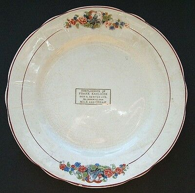LARGE antique DAIRY CREAMERY advertising plate - KARLICEK Milk and Cream