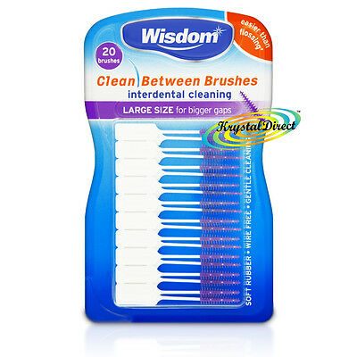 Wisdom PURPLE Clean Between LARGE Rubber 20 Interdental Floss Plaque Brushes