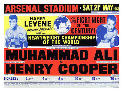 Muhammad Ali vs Henry Cooper 1966 Boxing Print - Framed And Memo Board Available