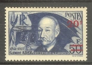 """FRANCE STAMP TIMBRE N° 493 """" CLEMENT ADER, AVION 1941 """" NEUF xx SUP"""