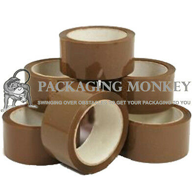 6 Rolls Of Strong Brown Packing Parcel Tape 48mm x 66M
