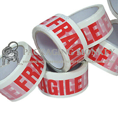 "144 x Rolls Of FRAGILE Printed 2"" Packing Parcel Tape"