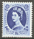 1955. SG556. 1s 6d grey-blue. St Edwards Wilding. Unmounted mint. FREEPOST!