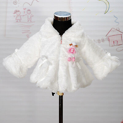 New Girls Ivory Faux Fur Long Sleeves Coat Bolero 6-7 Years