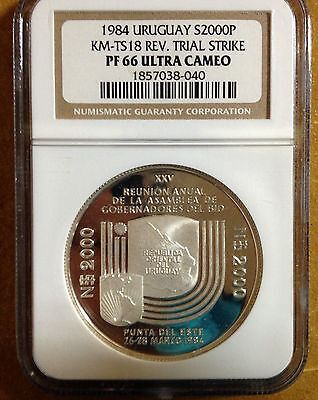 1984 Uruguay Large Silver Proof Reverse Trial strike $2000-NGC PF66 Ultra Cameo