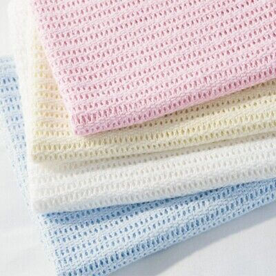 Premium Quality 100% Cotton Cellular Blanket Pram/Cotbed/Single/Double/King Bed.