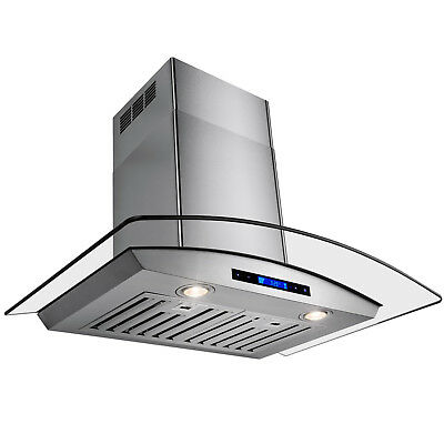 """New Europe Exhaust Stainless Steel Glass 36"""" Wall Range Hood Stove Vent w/Remote"""