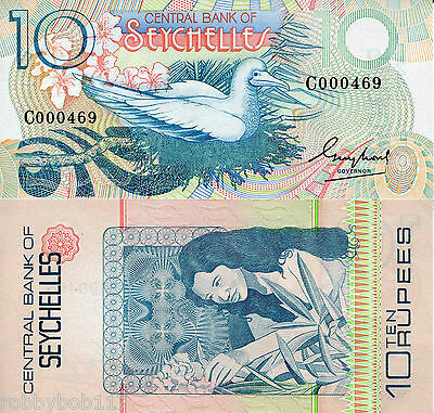SEYCHELLES 10 Rupees UNC Banknote p28 Low Serial # Bird