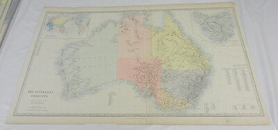 c1840 Antique SDUK Color Map/THE AUSTRALIAN COLONIES/Hand-Colored