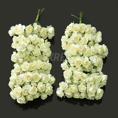 Hot Sale 144 X Ivory Petite Artificial Paper Rose Flower Wedding Card Decor DIY