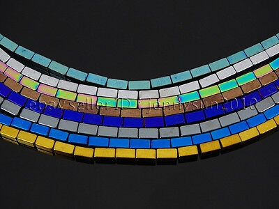 Hematite Gemstone Rectangular Bar Beads 16'' Metallic Multi-Colored Silver 2x4mm