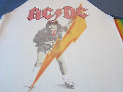 Vintage 70S Acdc Jersey Tee Shirt Concert High Voltage Angus Young