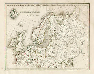 Northern Europe Map, Vintage, 1835 Original Antique Map Copper Engraving,
