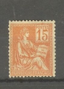 "FRANCE STAMP TIMBRE N° 117 "" TYPE MOUCHON 15c ORANGE 1900 "" NEUF xx TB"