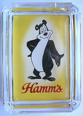 Hamm's Beer Bear Card & Glass Ashtray Key Ring Coin Candle Tray , Paperweight