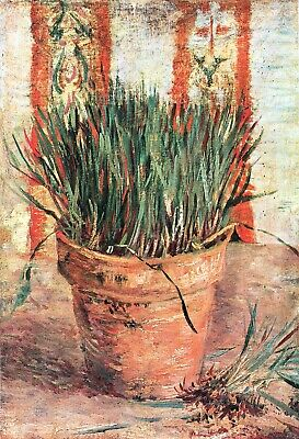 Flowerpot with chives by Vincent Van Gogh Giclee Fine Art Print Repro on Canvas