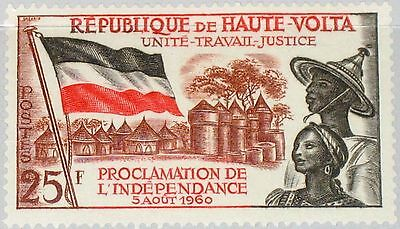 UPPER VOLTA OBERVOLTA 1960 92 Proclamation of Independence Flag Village Dorf MNH