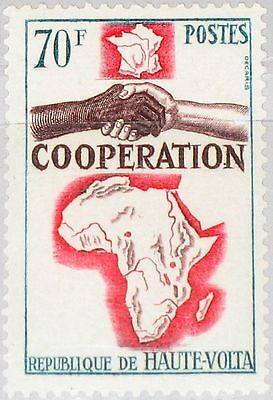 UPPER VOLTA OBERVOLTA 1964 154 134 Cooperation Issue Africa Map Karte Hands MNH