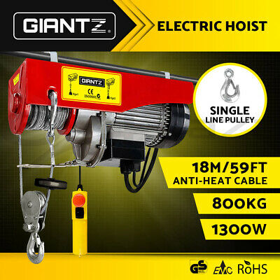 GIANTZ Electric Hoist Winch 400/800KG Rope Tool Remote Chain 18M Lifting Cable