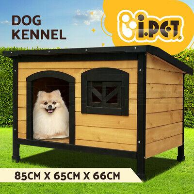 i.Pet Dog House Kennel Pet Timber Wooden Log Cabin Storage Box Bowls Extra Large