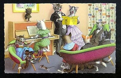 DRESSED CATS Sing-A-Long Music FANTASY Hartung Mainzer Postcard #4892 Belgium