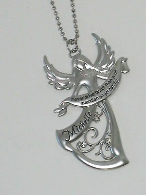 """Ganz Guardian Angel Car Charm Personalized Names A thru I """"Never Drive Faster"""""""
