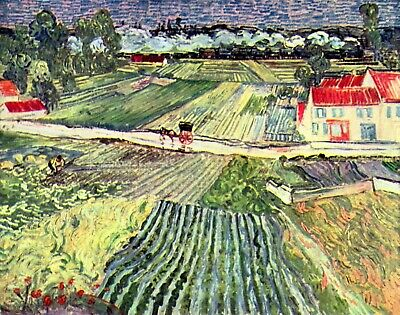 1 Landscape at Auvers in the Rain by Van Gogh Giclee Repro on Canvas