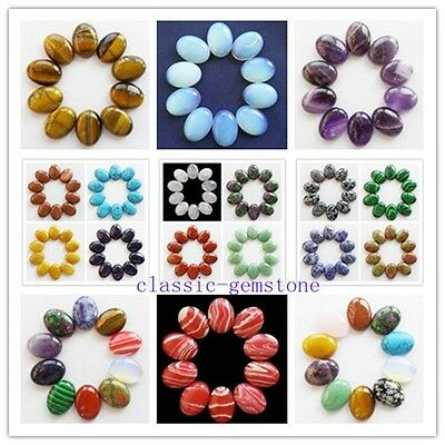XJ-216 Wholesale 10pcs Mixed Gemstone Oval CAB CABOCHON Pick 25x18mm Or 20x15mm
