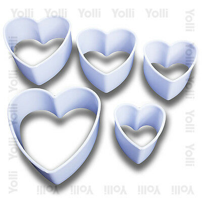 Heart Shaped Cookie / Fondant Cutters x5 Set baking home valentines gift crafts