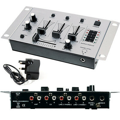 3-Channel DJ Mixer - Crossfade Talkover Microphones Mics Pre-Amplifier - Karaoke