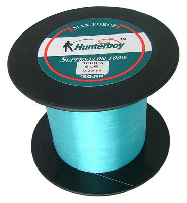 HUNTERBOY MAXFORCE SUPER NYLON FISHING LINE 1000M 6lb BLUE TOP MONO