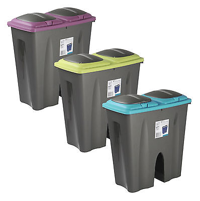 Double Recycling Waste Bin Duo Rubbish Plastic Cardboard Disposal 2 x 25 Litre