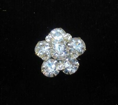 Vintage White Rhinestone Flower Power Sparkle Sparkly Chaton Pin Brooch Nice!