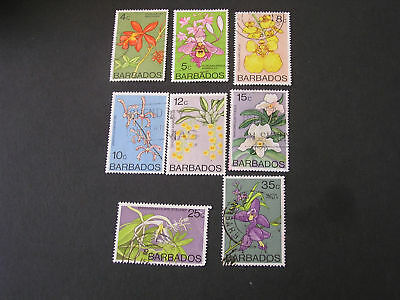 Barbados, Scott # 399-404+405/406(2)(8) 1974-77 Local Flowers Used
