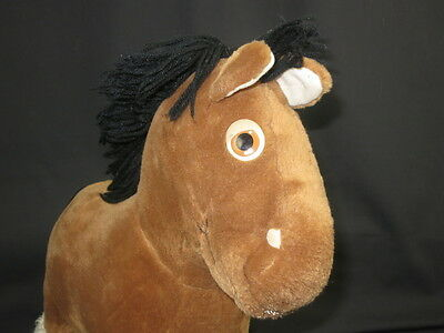 Vintage Brown Black Clydesdale Horse Yarn Hair Mane Stand Up Plush Stuffed Toy
