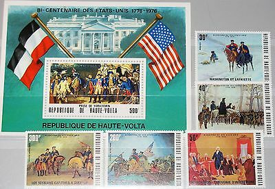 UPPER VOLTA OBERVOLTA 1975 569-73 Block 34 US Independence War Scenes Krieg MNH