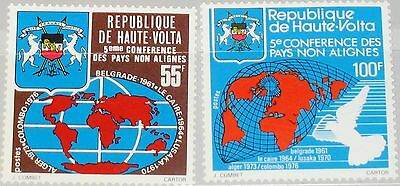 UPPER VOLTA OBERVOLTA 1976 638-39 401-02 Coat of Armps World Map Weltkarte MNH