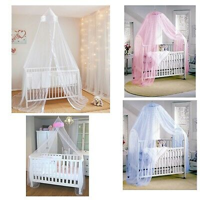 Baby Cot Bed Canopy Mosquito Net Available in White with Pink Panel and Blue