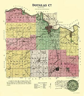 Old County Map - Doniphan Kansas - Everts 1887 - 23 x 26.31
