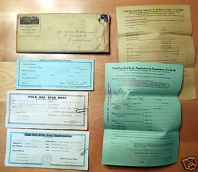 Early 1940s Field Dog Stud Registration Paper Lot for American Water Spaniels