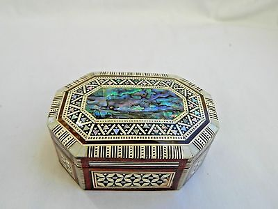 """Egyptian Inlaid Wooden Mother of Pearl Paua Jewelry Box 4.5"""" # 422"""