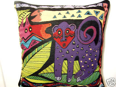 Laurel Burch Friends Amazoni Jungle Safari Decorative Tapestry Throw Pillow NWT