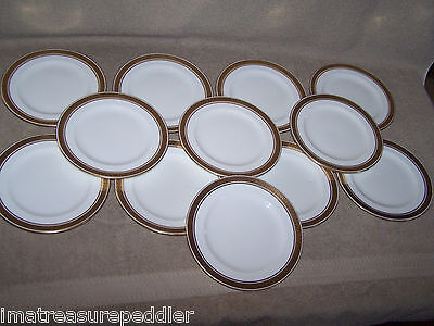 Vintage Royal Doulton Greek Key White Black Gold 12 Bread Butter Plates