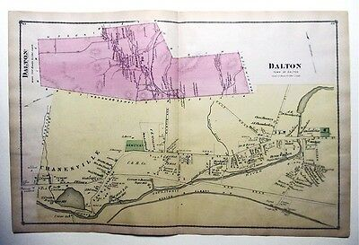 Original 1876 Hand Colored  Beers Atlas Map Dalton MA plus Hinsdale Double Page