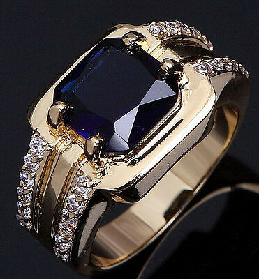 Size 7,8,9,10,11,12 Fashion Man Blue Sapphire Yellow Gold Filled Wedding Ring