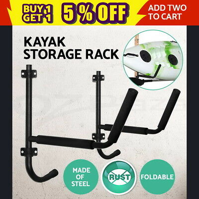 2X Foldable Kayak Rack Kayak Holder Canoe Carrier Surfboard Storage Garage Wall