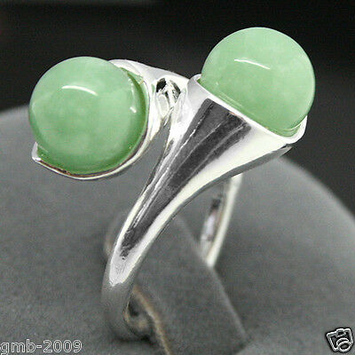 RARE TWO ROUND 6MM GREEN JADE GEMSTONE 925 STERLING SILVER RING SIZE ADJUSTABLE