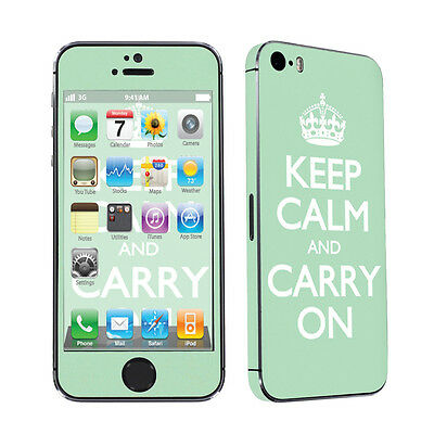 USA Apple iPhone 5s Decal Vinyl Cover Skin Sticker - Mint Keep Calm And Carry On