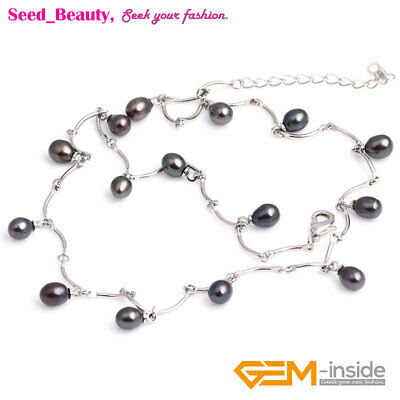 """Jewelry 7-8x8-10mm Freshwater Pearl Beads Gold Plated Necklace 18"""" sd3007-V"""