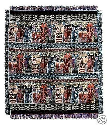 Laurel Burch Brown Native Felines Cats Afghan Tapestry Throw Blanket NWT
